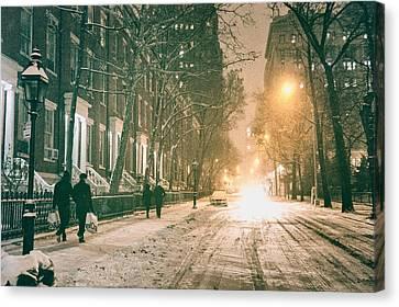 Winter - Snow - Washington Square - New York City Canvas Print by Vivienne Gucwa