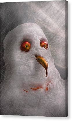 Winter - Snowman - What Are You Looking At Canvas Print by Mike Savad