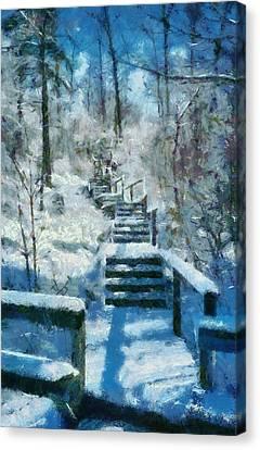 Winter Stairway Canvas Print by Michelle Calkins
