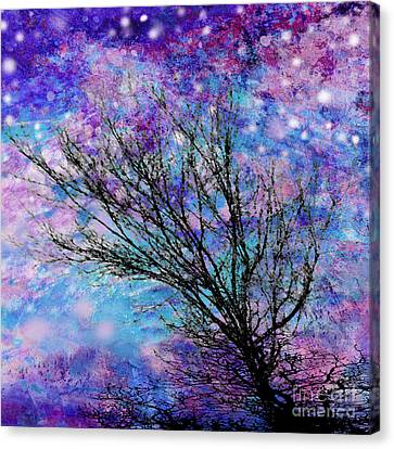 Winter Starry Night Square Canvas Print by Ann Powell