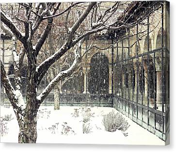 Winter Storm At The Cloisters 3 Canvas Print by Sarah Loft
