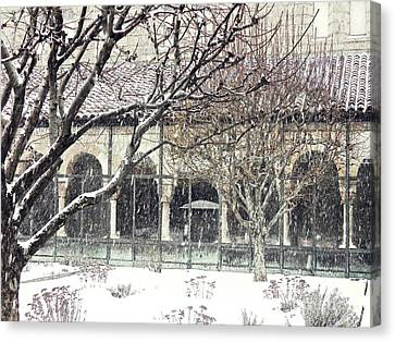 Winter Storm At The Cloisters 5 Canvas Print by Sarah Loft