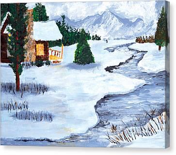 Winter Stream 2014 Canvas Print by Anja Eriksen