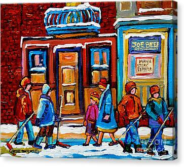 Winter Street In Saint Henri Canvas Print by Carole Spandau