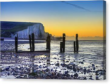 Winter Sunrise At Low Tide At Seven Sisters Cliffs Canvas Print by Matthew Gibson