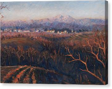 Winter Sunset In Brianza Canvas Print by Marco Busoni