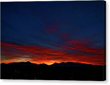 Winter Sunset Canvas Print by Jeremy Rhoades
