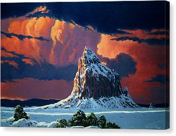 Winter Sunset Over Shiprock Canvas Print by Randy Follis