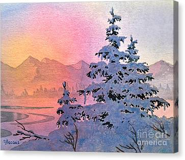 Winter Twilight Canvas Print by Teresa Ascone