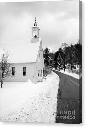 Winter Vermont Church Canvas Print by Edward Fielding