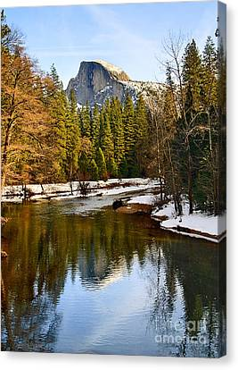 Winter View Of Half Dome In Yosemite National Park. Canvas Print by Jamie Pham