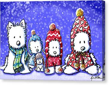 Winter Westies Canvas Print by Kim Niles