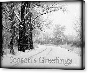 Winter White Season's Greeting Card Canvas Print by Carol Groenen