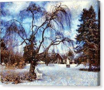 Winter Willow In Mountainhome - Church Canvas Print by Janine Riley