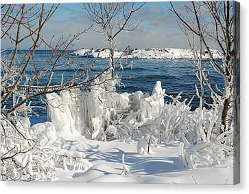 Winter Wonder Shore Canvas Print by Lucy Bounds