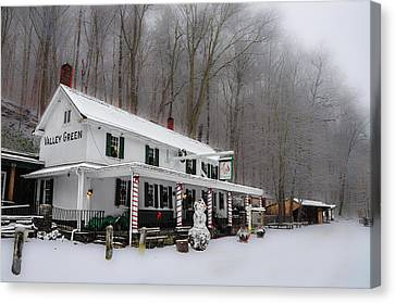 Winter Wonderland At The Valley Green Inn Canvas Print by Bill Cannon
