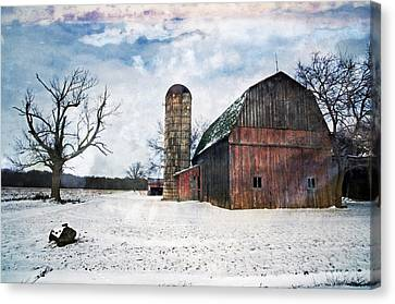 Winters Day Barn Canvas Print by Cheryl Cencich