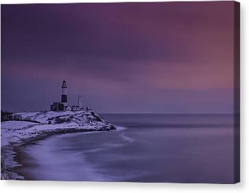 Winter's Glow At Montauk Point Canvas Print by Rick Berk