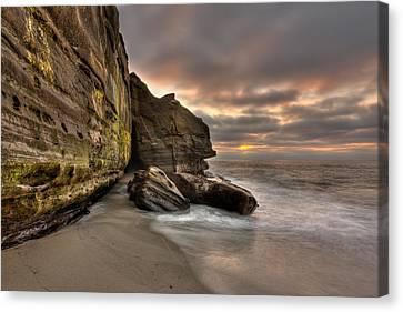 Wipeout Beach Cliffs Canvas Print by Peter Tellone
