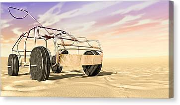 Wire Toy Car In The Desert Perspective Canvas Print by Allan Swart