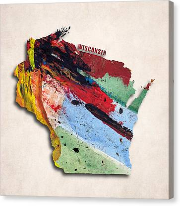 Wisconsin Map Art - Painted Map Of Wisconsin Canvas Print by World Art Prints And Designs