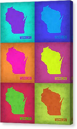 Wisconsin Pop Art Map 2 Canvas Print by Naxart Studio