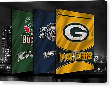 Wisconsin Sports Teams Canvas Print by Joe Hamilton