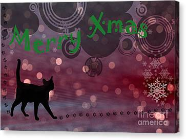 Wishing You All A Purrfect Xmas... Canvas Print by Nina Stavlund