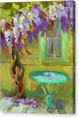 Wisteria At Hotel Baudy Canvas Print by Diane McClary