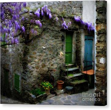 Wisteria On Stone House Canvas Print by Lainie Wrightson