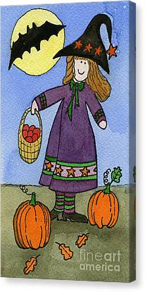 Witch And Pumpkins Canvas Print by Norma Appleton
