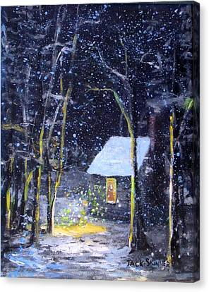 Wintery  Night At Thoreau's Cove Canvas Print by Jack Skinner