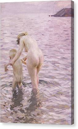 With Mother Canvas Print by Anders Leonard Zorn