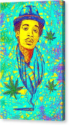 Wiz Khalifa Drawing In Line Canvas Print by Pierre Louis