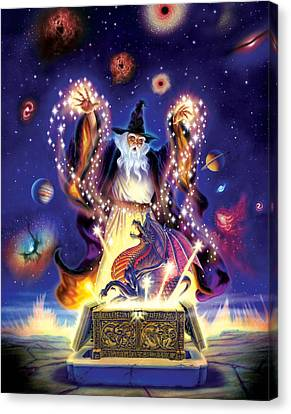 Wizard Dragon Spell Canvas Print by Andrew Farley
