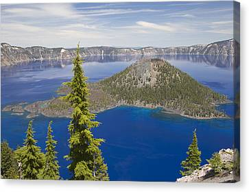 Wizard Island In Crater Lake Oregon Canvas Print by Bill Coster