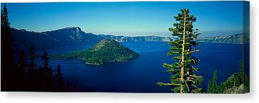 Wizard Island In Crater Lake, Oregon Canvas Print by Panoramic Images