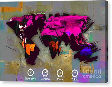 Wold Map Watercolor Canvas Print by Marvin Blaine