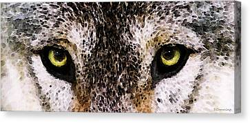 Wolf Eyes By Sharon Cummings Canvas Print by Sharon Cummings