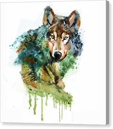 Wolf Face Watercolor Canvas Print by Marian Voicu