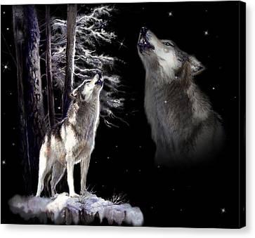 Wolf  Howling Memory Canvas Print by Regina Femrite