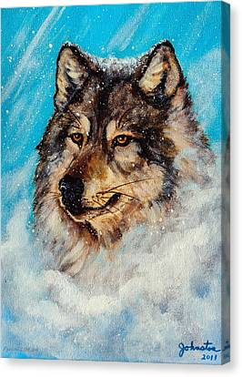 Wolf In A Snow Storm Canvas Print by Bob and Nadine Johnston