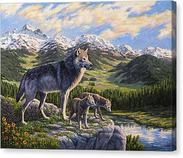 Wolf Painting - Passing It On Canvas Print by Crista Forest