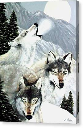 Wolves Howling At The Moon Canvas Print by Zelma Hensel