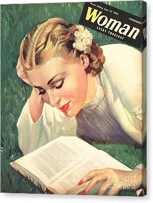 Woman 1942 1940s Uk People Reading Book Canvas Print by The Advertising Archives