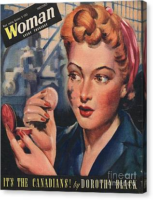 Woman 1943 1940s Uk Women At War Canvas Print by The Advertising Archives