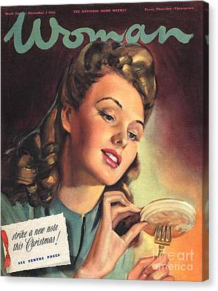 Woman 1945 1940s Uk People Eating Canvas Print by The Advertising Archives