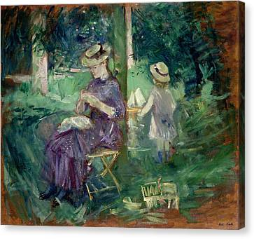 Woman And Child In A Garden Canvas Print by Berthe Morisot