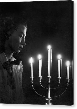 Woman And Menorah Canvas Print by Underwood Archives