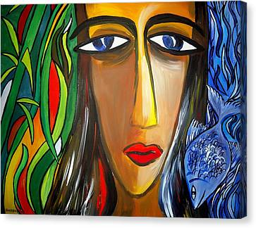 Woman And Nature Canvas Print by Shakhenabat Kasana